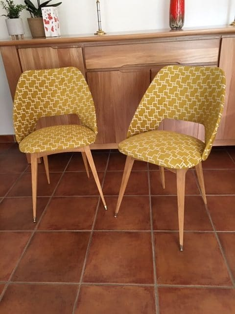 chaises pieds compas vintage